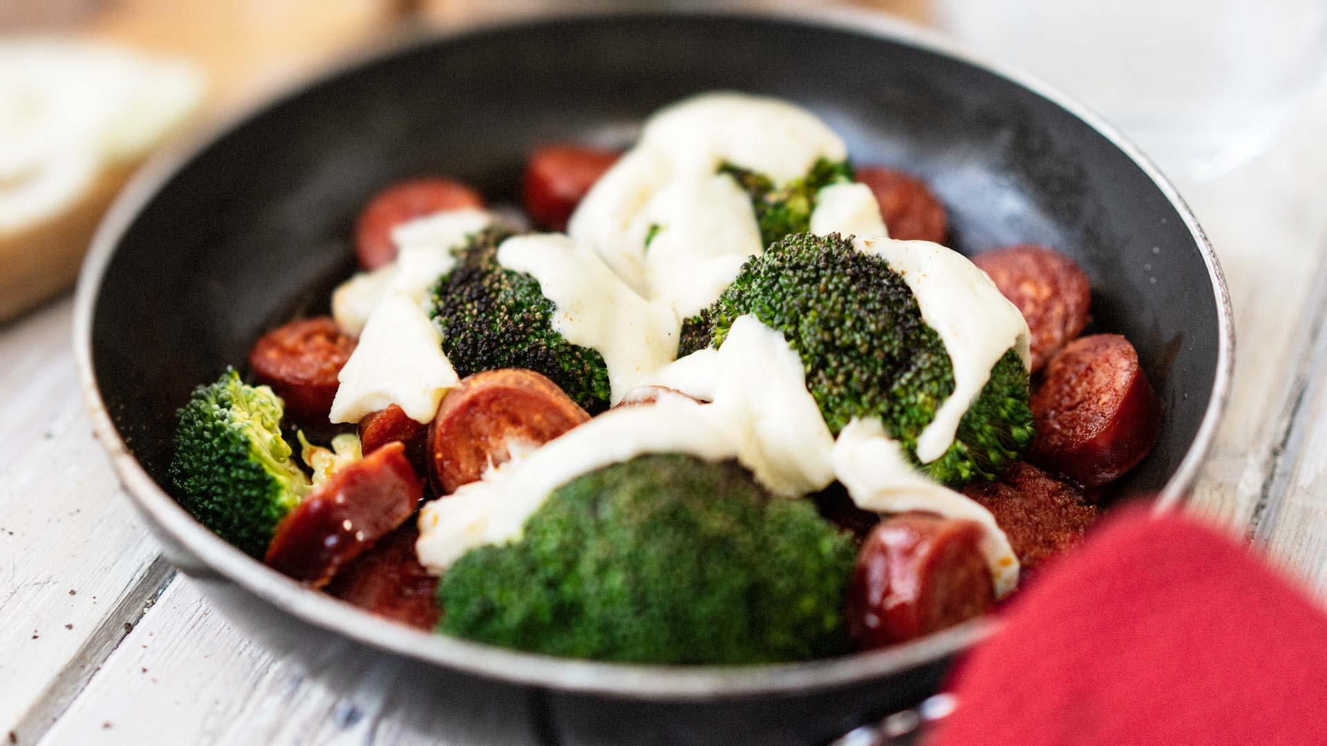 Frying pan Broccoli Chorizo sausage