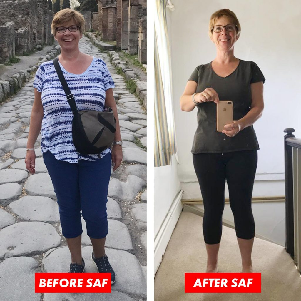 Square frame split vertically. Image of Woman, Lisa. Aproximately 50 years old. image on left she is bigger, heavier. Image on right she has obviously lost weight.