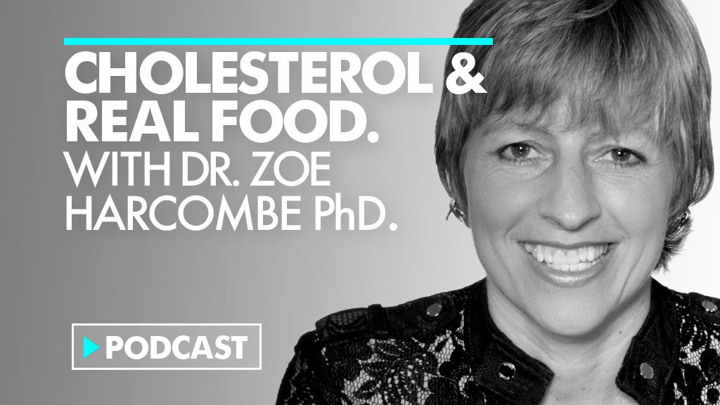 Dr Zoe Harcombe and Podcast title. Cholesterol and Real Food