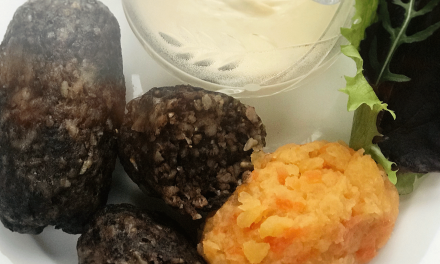 Low carb haggis with whisky cream sauce