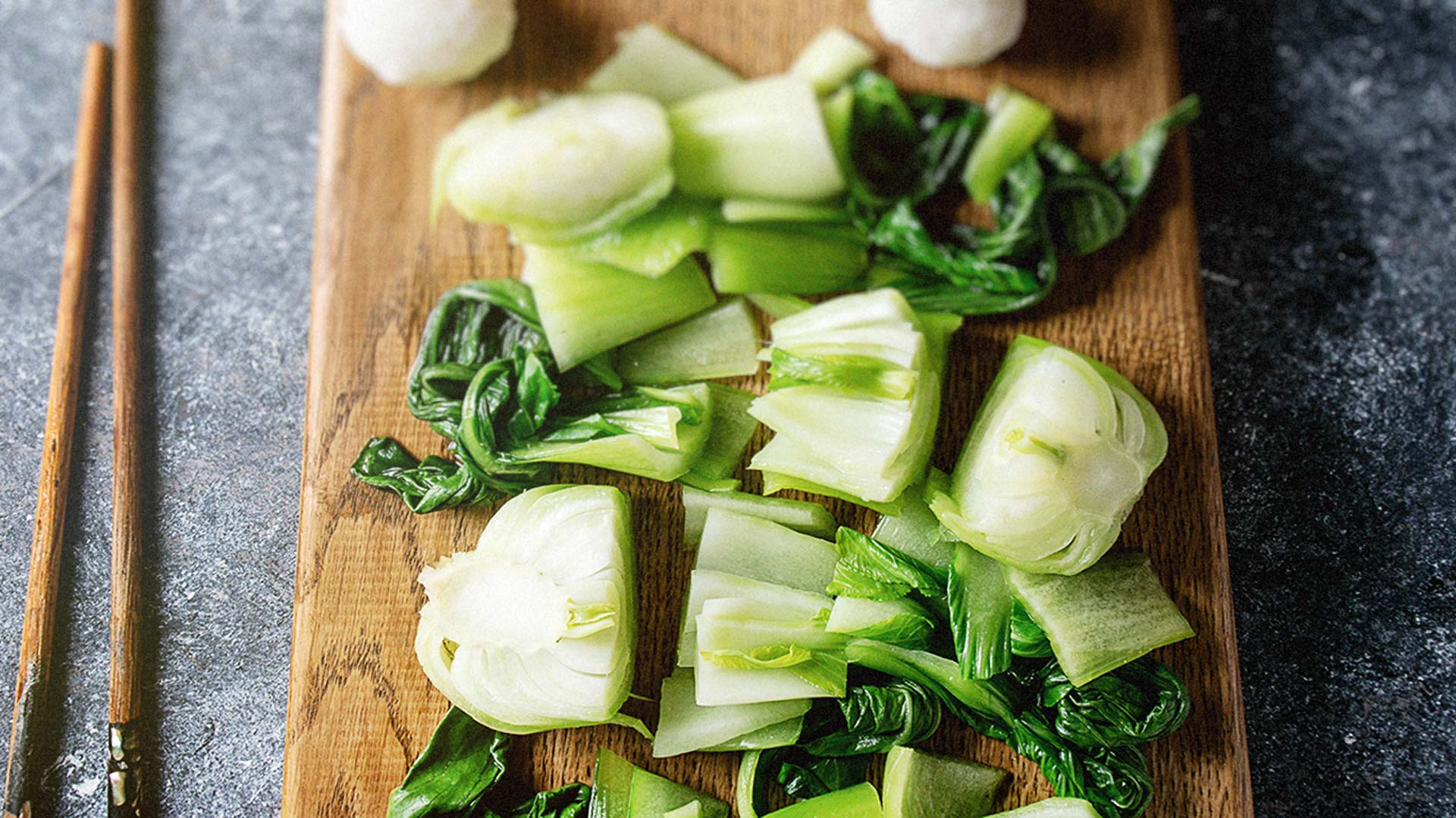 Bok Choi Chinese cabbage on a chopping board