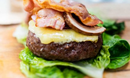 Cheddar and bacon burger stack