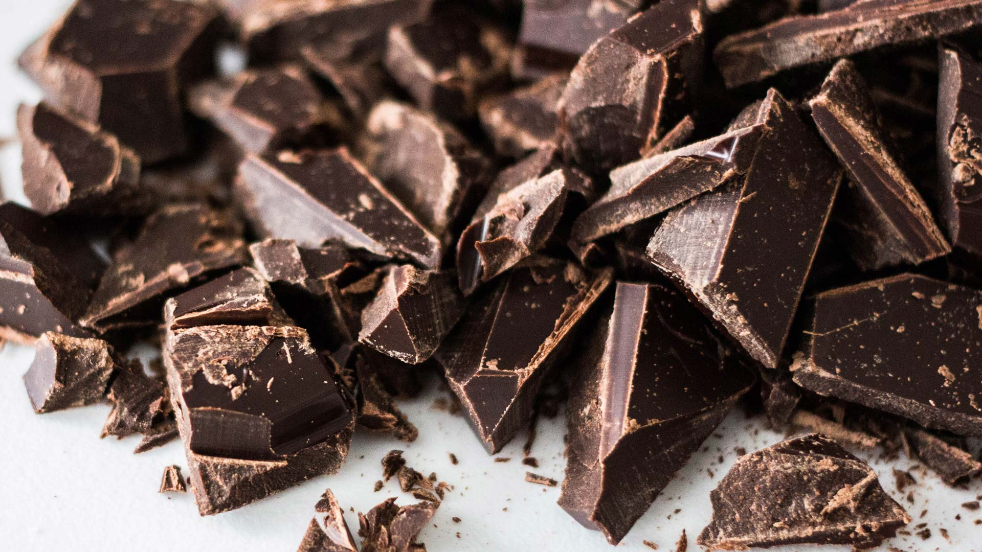 broken squares of dark chocolate